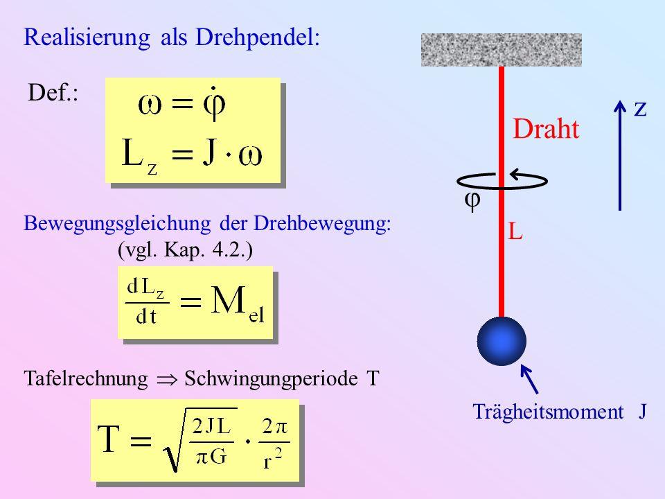 Realisierung als Drehpendel: Bewegungsgleichung der Drehbewegung: (vgl. Kap. 4.2.) Def.: Tafelrechnung Schwingungperiode T Draht Trägheitsmoment J φ z