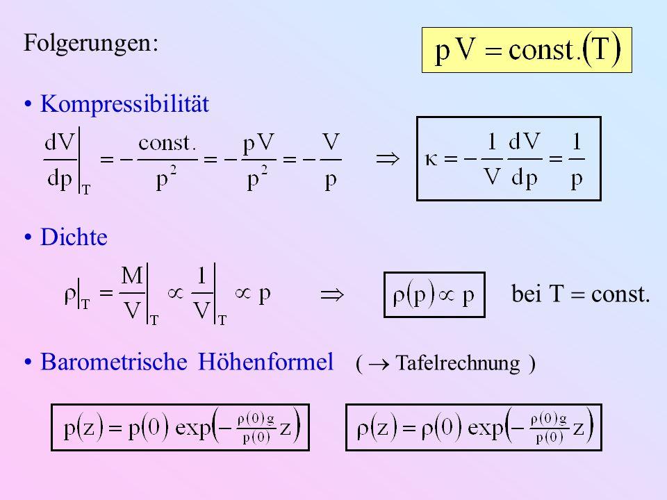 Folgerungen: Kompressibilität Dichte bei T const. Barometrische Höhenformel ( Tafelrechnung )