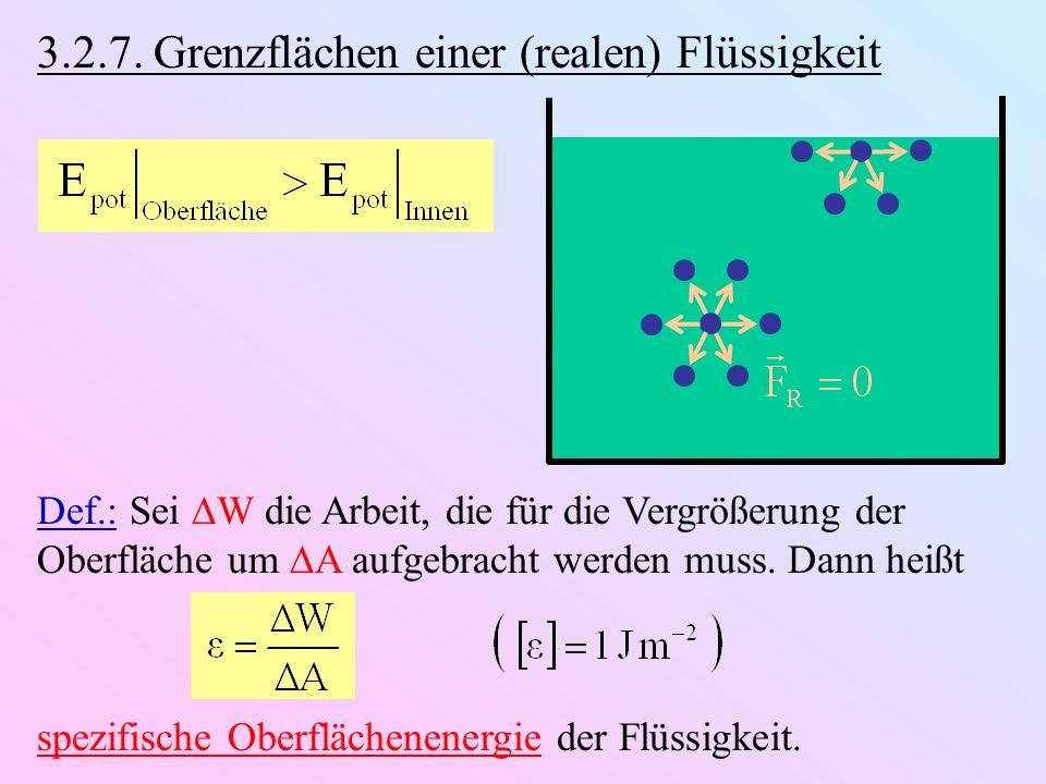3.2.7. Grenzflächen einer (realen) Flüssigkeit Def.: Sei W die Arbeit, die für die Vergrößerung der Oberfläche um A aufgebracht werden muss. Dann heiß