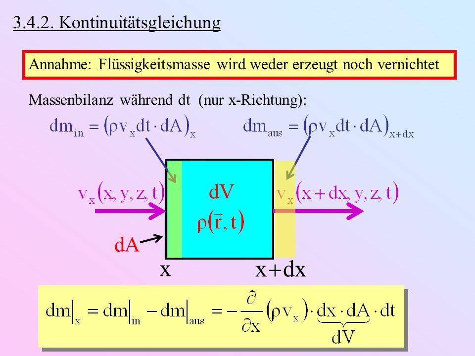 3.4.2. Kontinuitätsgleichung Annahme: Flüssigkeitsmasse wird weder erzeugt noch vernichtet Massenbilanz während dt (nur x-Richtung): x x dx dV dA
