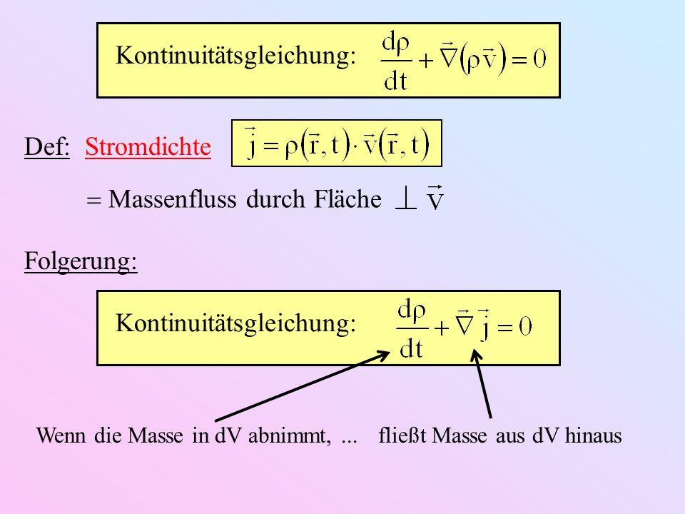 Def: Stromdichte Massenfluss durch Fläche Kontinuitätsgleichung: Folgerung: Wenn die Masse in dV abnimmt,... fließt Masse aus dV hinaus