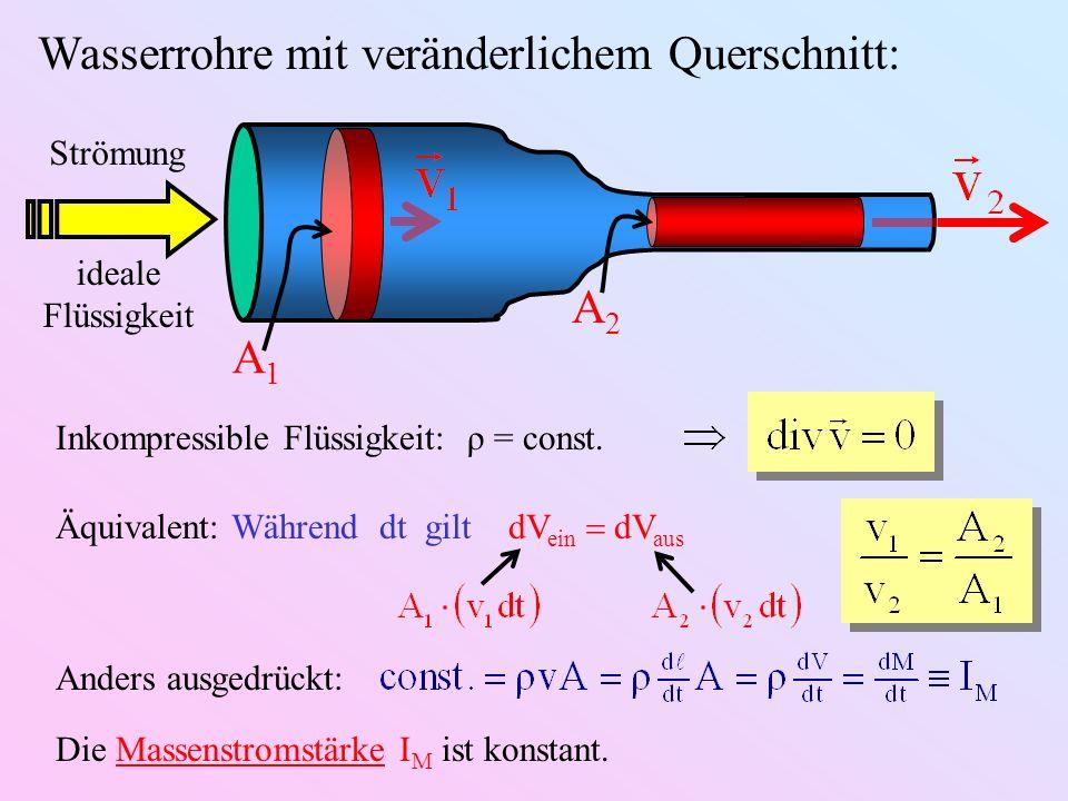 Wasserrohre mit veränderlichem Querschnitt: A1A1 A2A2 Strömung ideale Flüssigkeit Inkompressible Flüssigkeit: ρ = const. Äquivalent: Während dt gilt d