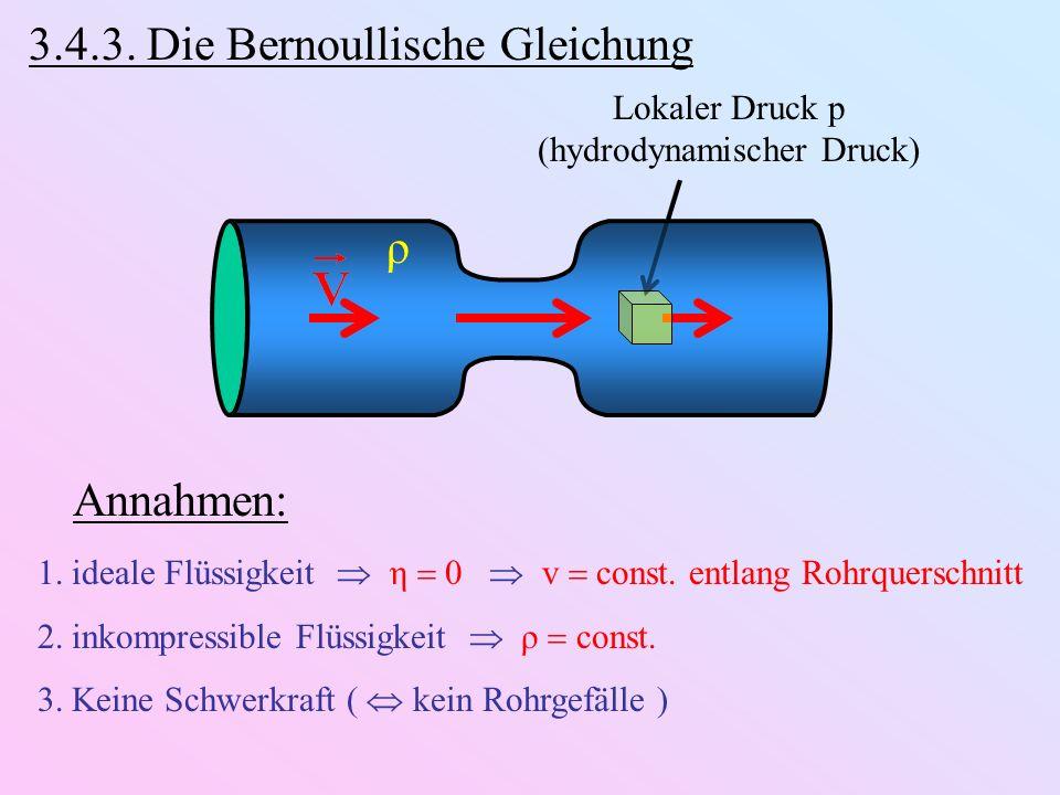 3.4.3. Die Bernoullische Gleichung ρ Lokaler Druck p (hydrodynamischer Druck) Annahmen: 1.ideale Flüssigkeit η 0 v const. entlang Rohrquerschnitt 2.in