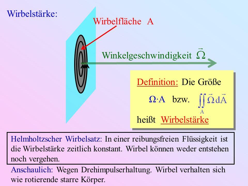 Wirbelstärke: Wirbelfläche A Winkelgeschwindigkeit Definition: Die Größe Ω·A bzw. heißt Wirbelstärke Helmholtzscher Wirbelsatz: In einer reibungsfreie