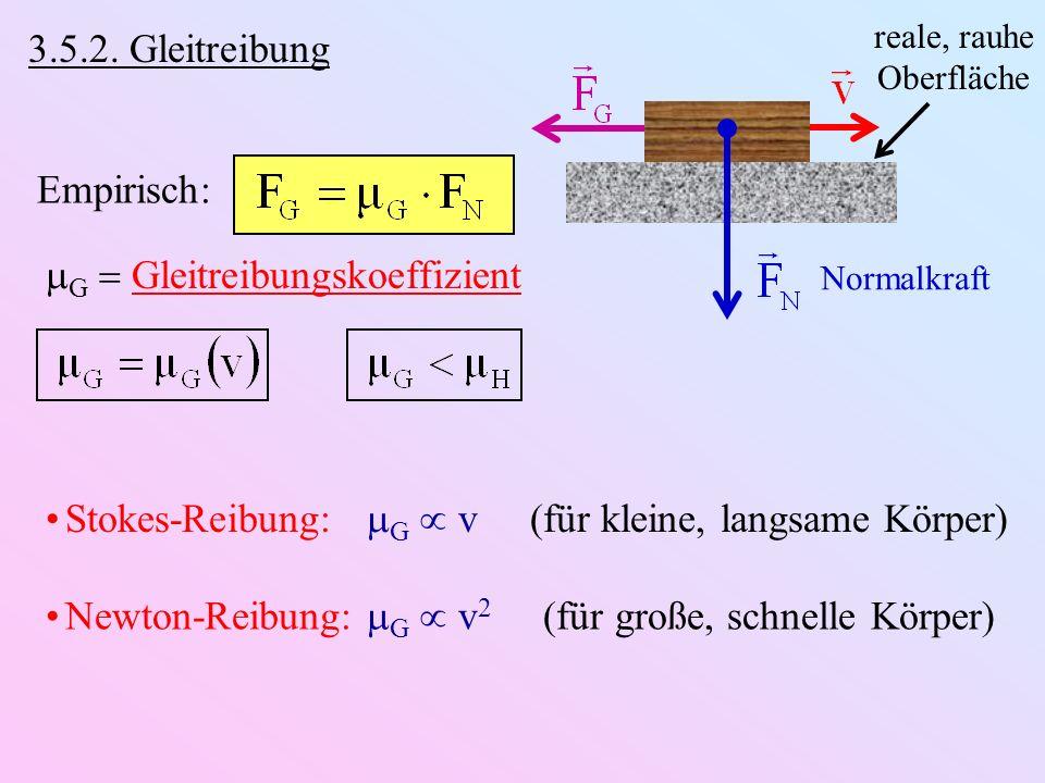 3.5.2. Gleitreibung Empirisch: G Gleitreibungskoeffizient reale, rauhe Oberfläche Normalkraft Stokes-Reibung: G v (für kleine, langsame Körper) Newton
