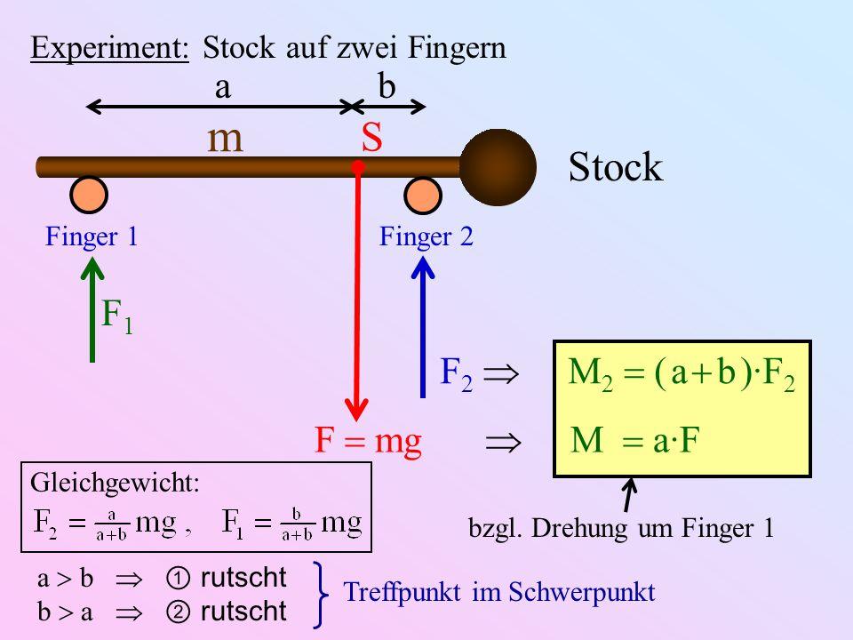 bzgl. Drehung um Finger 1 Experiment: Stock auf zwei Fingern Stock m S Finger 1Finger 2 ab F mg M a·F F1F1 F 2 M 2 ( a b )·F 2 Gleichgewicht: a b ruts