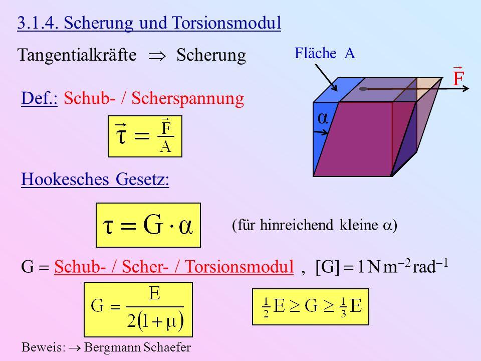 3.1.4. Scherung und Torsionsmodul Tangentialkräfte Scherung Fläche A α Def.: Schub- / Scherspannung Hookesches Gesetz: (für hinreichend kleine ) G Sch