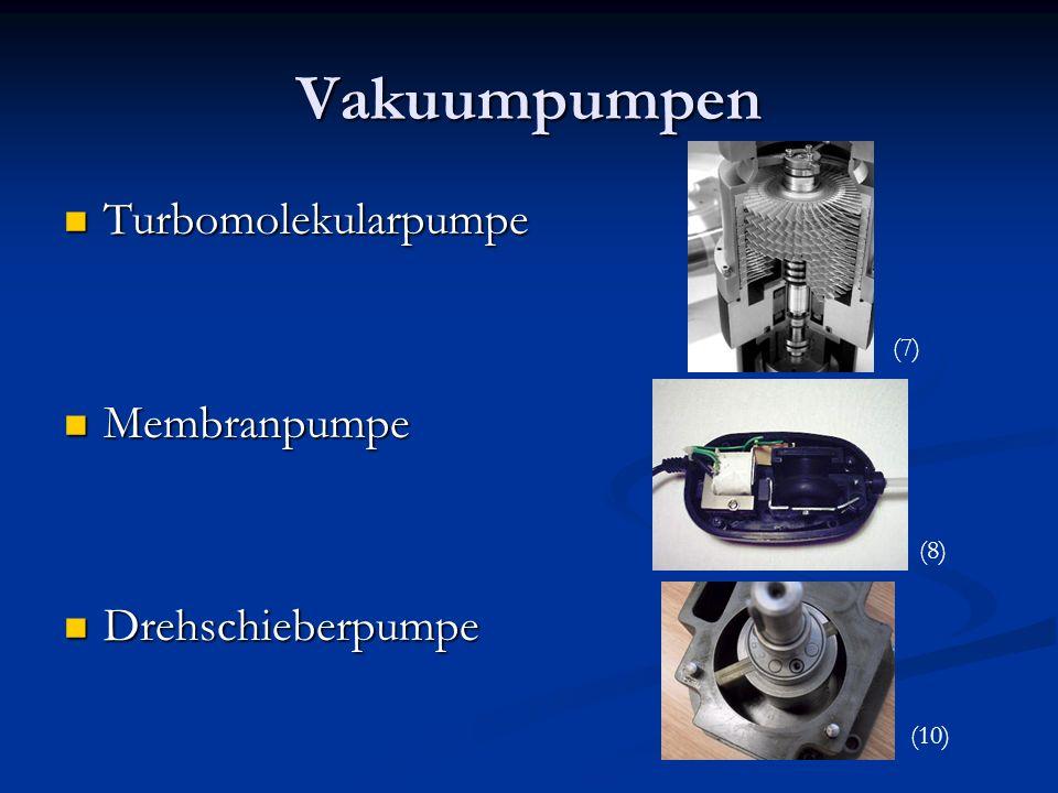 Vakuumpumpen Turbomolekularpumpe Turbomolekularpumpe Membranpumpe Membranpumpe Drehschieberpumpe Drehschieberpumpe (7) (8) (10)