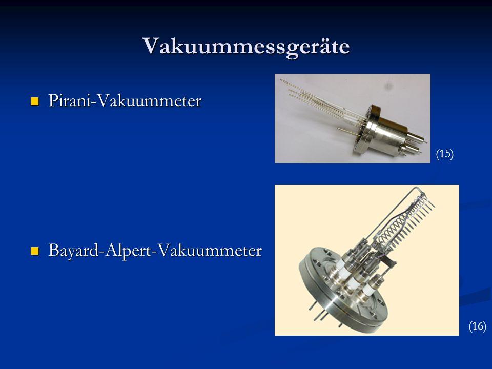 Vakuummessgeräte Pirani-Vakuummeter Pirani-Vakuummeter Bayard-Alpert-Vakuummeter Bayard-Alpert-Vakuummeter (15) (16)