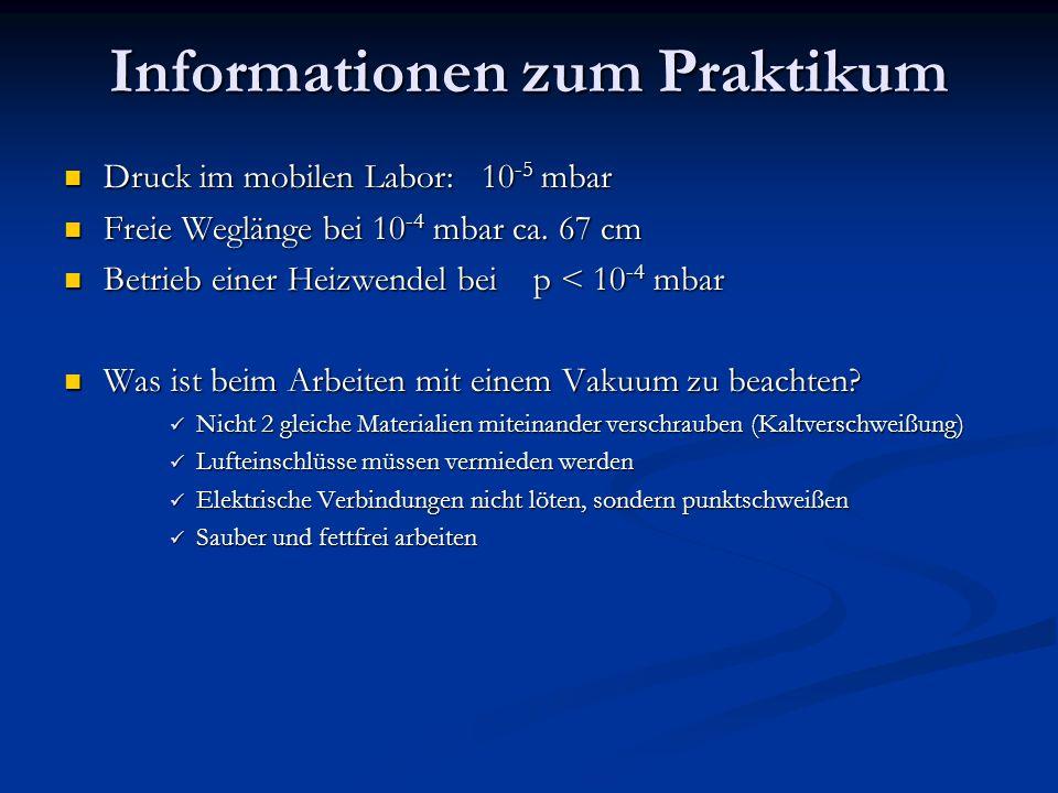 Informationen zum Praktikum Druck im mobilen Labor: 10 -5 mbar Druck im mobilen Labor: 10 -5 mbar Freie Weglänge bei 10 -4 mbar ca.