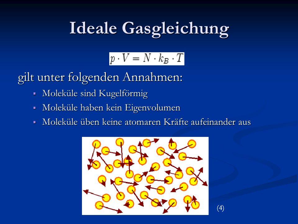 Teilchenanzahl in einen cm³ bei Zimmertemperatur (20°C) Berechnung mit Hilfe der idealen Gasgleichung Normaldruck : 2,5.
