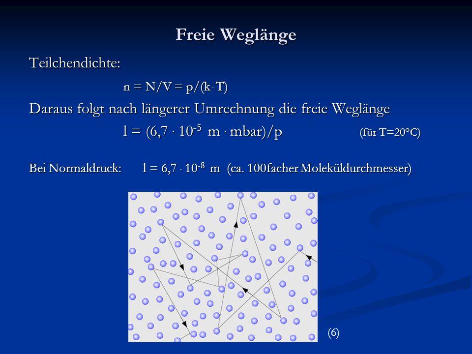 Freie Weglänge Teilchendichte: n = N/V = p/(k.
