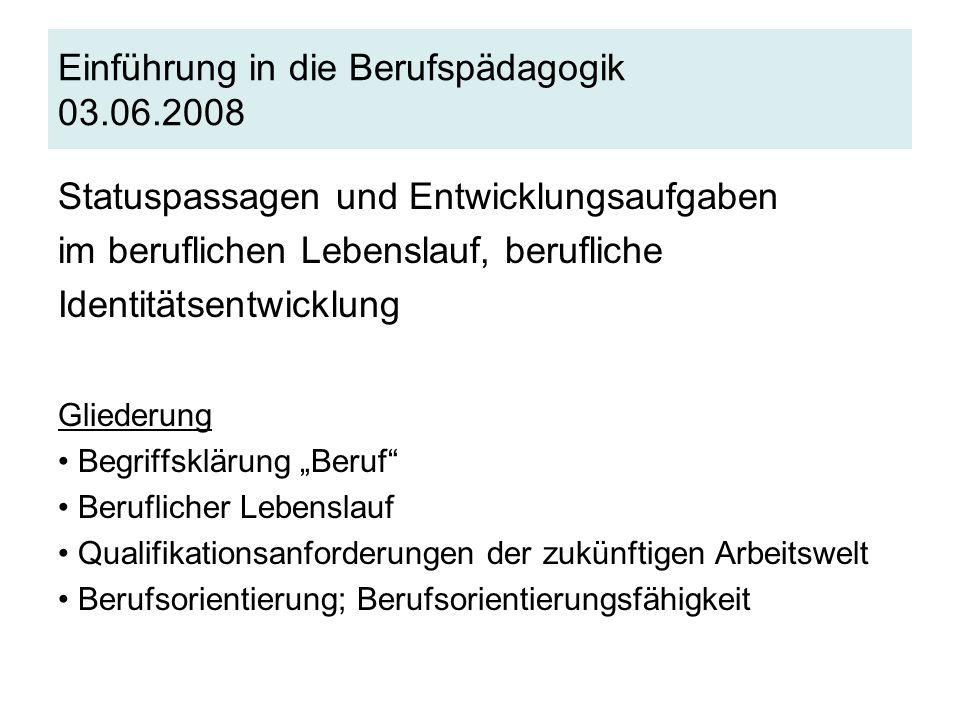 Einführung in die Berufspädagogik 03.06.2008 Statuspassagen und Entwicklungsaufgaben im beruflichen Lebenslauf, berufliche Identitätsentwicklung Glied
