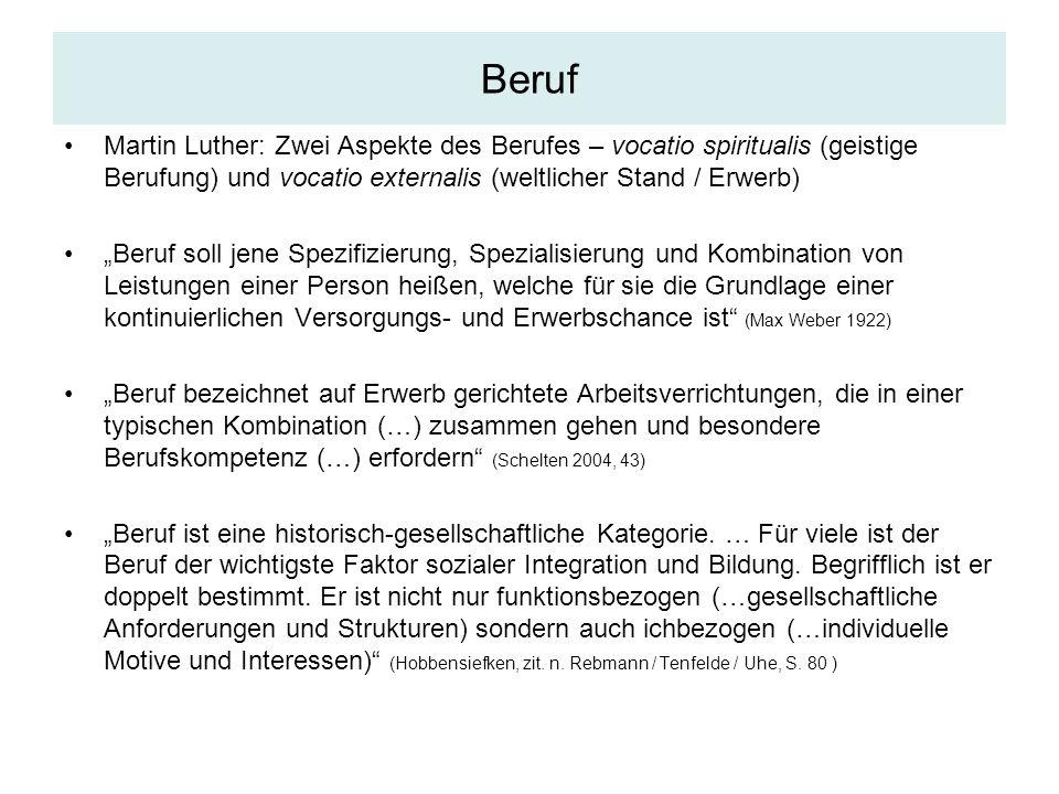 Beruf Martin Luther: Zwei Aspekte des Berufes – vocatio spiritualis (geistige Berufung) und vocatio externalis (weltlicher Stand / Erwerb) Beruf soll