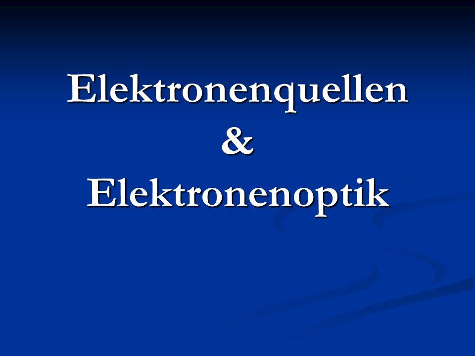 Überblick Elektronenquellen Elektronenquellen Sekundäremission aus Festkörperoberflächen Sekundäremission aus Festkörperoberflächen Photoeffekt Photoeffekt Feldemission Feldemission Thermische Emission (Glühemission) Thermische Emission (Glühemission) Elektronenkanone Elektronenkanone Elektronenoptik Elektronenoptik Elektrostatische Linsen Elektrostatische Linsen Elektromagnetische Linsen Elektromagnetische Linsen Anwendungsbeispiele Anwendungsbeispiele Mikroskope Mikroskope Feldemissionsmikroskop Feldemissionsmikroskop Transmission Elektronenmikroskop Transmission Elektronenmikroskop Rasterelektronenmikroskop Rasterelektronenmikroskop Rastertunnel Mikroskop Rastertunnel Mikroskop Beispielbilder Beispielbilder