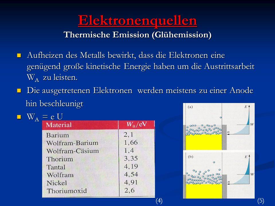 Elektronenquellen Thermische Emission (Glühemission) Aufheizen des Metalls bewirkt, dass die Elektronen eine genügend große kinetische Energie haben u