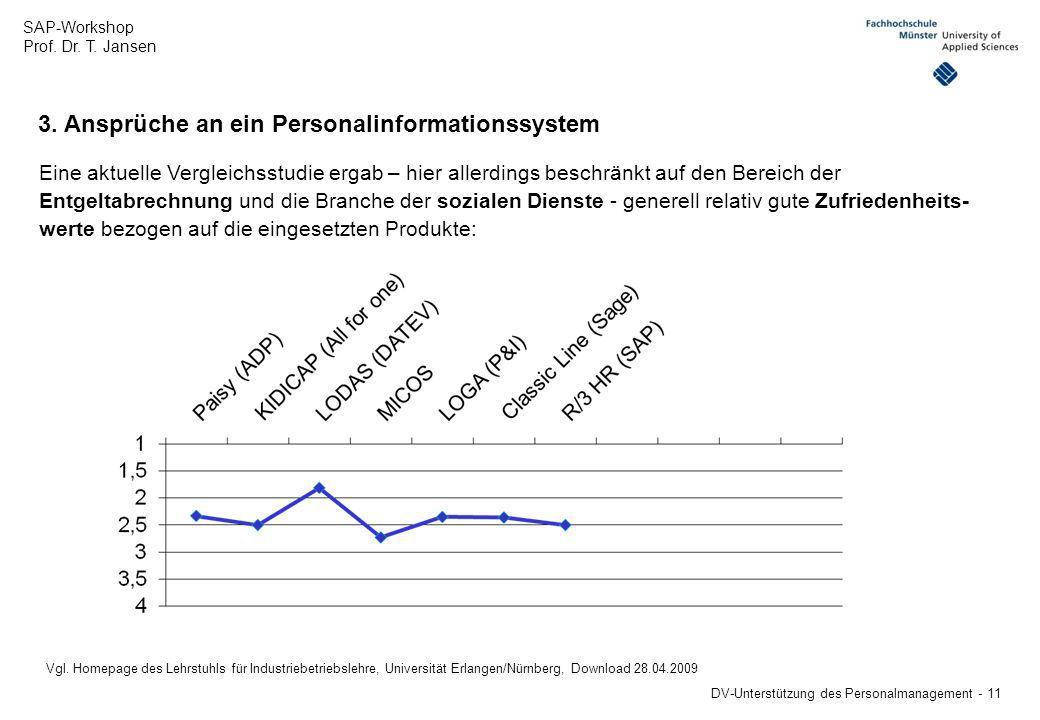 SAP-Workshop Prof. Dr. T. Jansen DV-Unterstützung des Personalmanagement - 11 3. Ansprüche an ein Personalinformationssystem Eine aktuelle Vergleichss