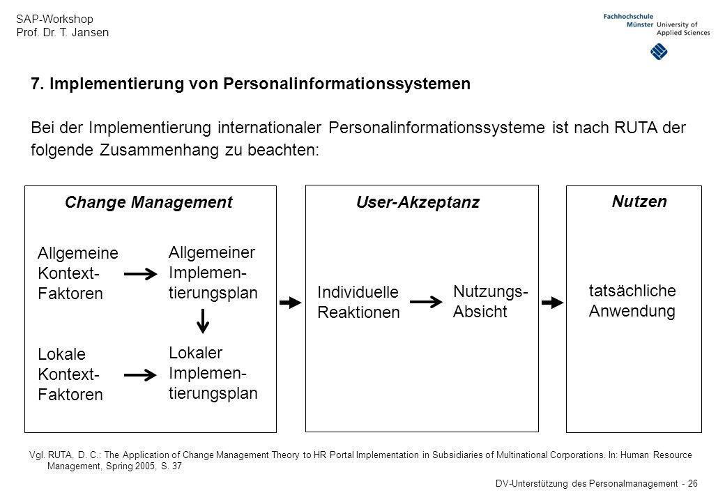 SAP-Workshop Prof. Dr. T. Jansen DV-Unterstützung des Personalmanagement - 26 7. Implementierung von Personalinformationssystemen Bei der Implementier