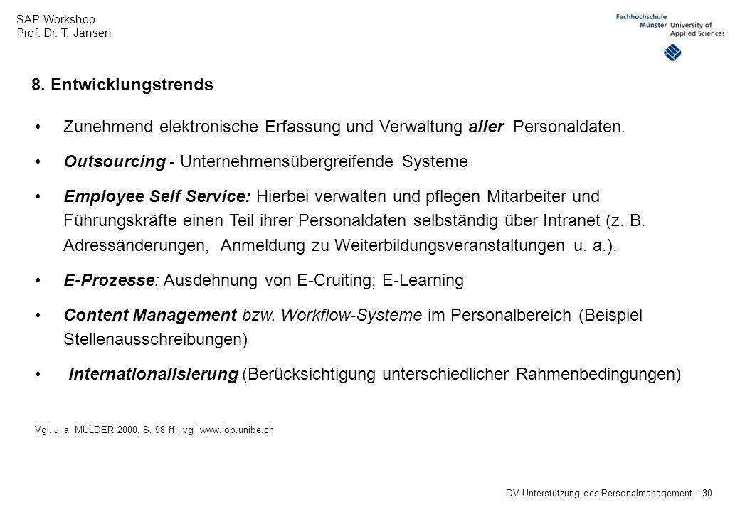 SAP-Workshop Prof. Dr. T. Jansen DV-Unterstützung des Personalmanagement - 30 8. Entwicklungstrends Zunehmend elektronische Erfassung und Verwaltung a