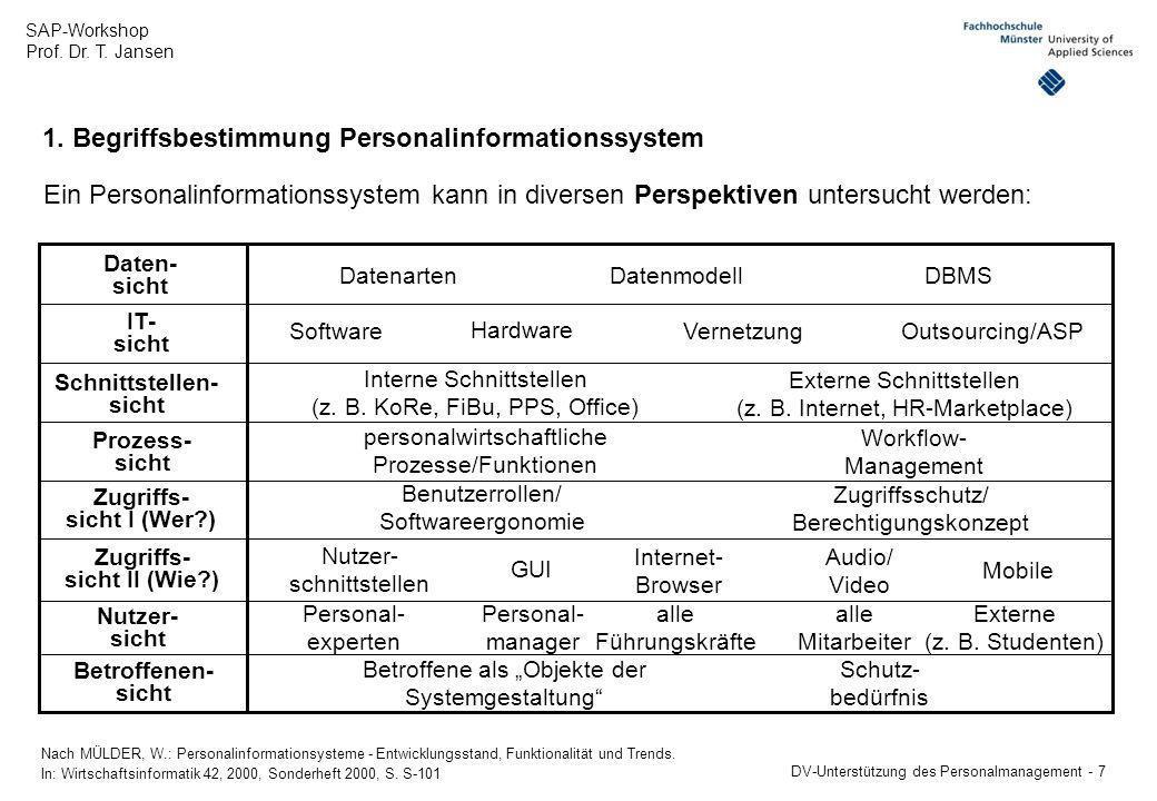 SAP-Workshop Prof. Dr. T. Jansen DV-Unterstützung des Personalmanagement - 7 1. Begriffsbestimmung Personalinformationssystem Ein Personalinformations