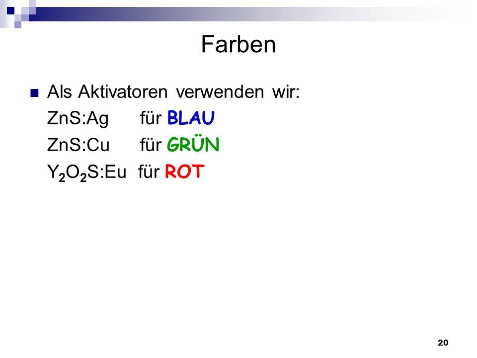 20 Farben Als Aktivatoren verwenden wir: ZnS:Ag für BLAU ZnS:Cu für GRÜN Y 2 O 2 S:Eu für ROT