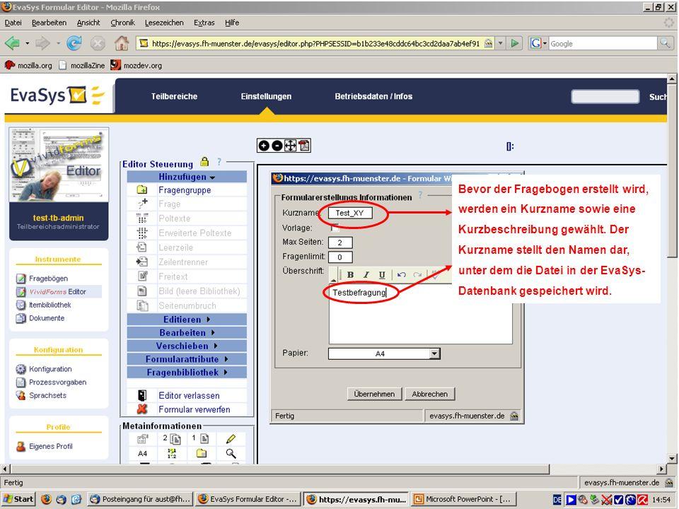 27 Erzeugen einer neuen Umfrage Eine neue Umfrage kann sowohl als Paper & Pencil- als auch als Online-Variante generiert werden.