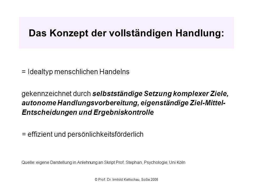 © Prof. Dr. Irmhild Kettschau, SoSe 2008 Das Konzept der vollständigen Handlung: = Idealtyp menschlichen Handelns gekennzeichnet durch selbstständige
