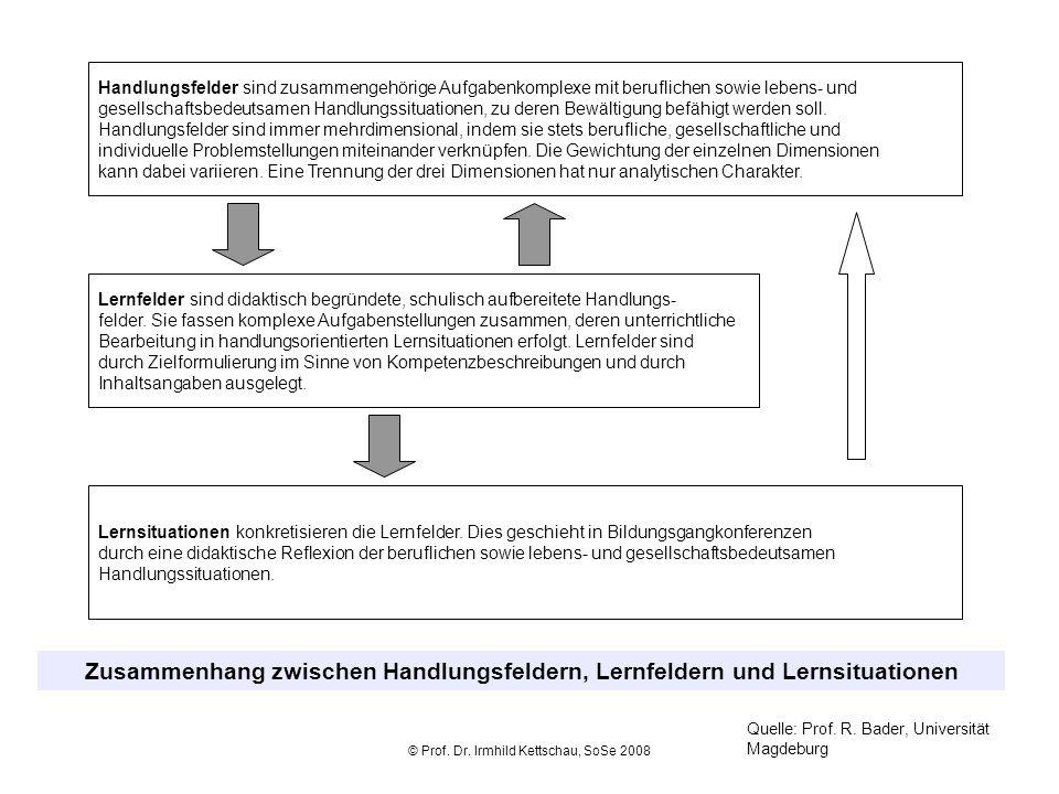 © Prof. Dr. Irmhild Kettschau, SoSe 2008 Handlungsfelder sind zusammengehörige Aufgabenkomplexe mit beruflichen sowie lebens- und gesellschaftsbedeuts