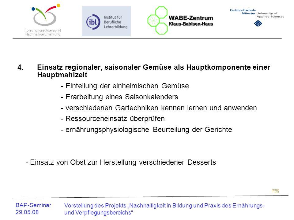 Forschungsschwerpunkt Nachhaltige Ernährung BAP-Seminar 29.05.08 Vorstellung des Projekts Nachhaltigkeit in Bildung und Praxis des Ernährungs- und Ver