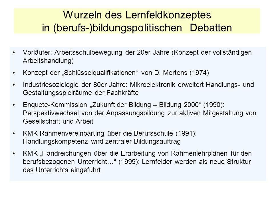 Wurzeln des Lernfeldkonzeptes in (berufs-)bildungspolitischen Debatten Vorläufer: Arbeitsschulbewegung der 20er Jahre (Konzept der vollständigen Arbei