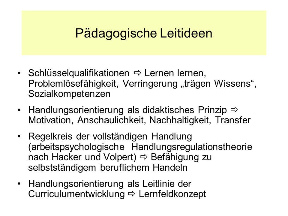 Pädagogische Leitideen Schlüsselqualifikationen Lernen lernen, Problemlösefähigkeit, Verringerung trägen Wissens, Sozialkompetenzen Handlungsorientier