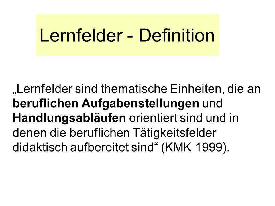 Lernfelder - Definition Lernfelder sind thematische Einheiten, die an beruflichen Aufgabenstellungen und Handlungsabläufen orientiert sind und in dene