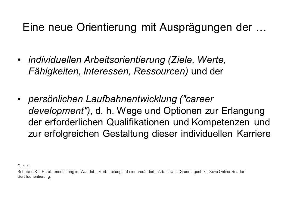 Eine neue Orientierung mit Ausprägungen der … individuellen Arbeitsorientierung (Ziele, Werte, Fähigkeiten, Interessen, Ressourcen) und der persönlich