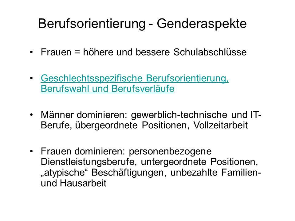 Berufsorientierung - Genderaspekte Frauen = höhere und bessere Schulabschlüsse Geschlechtsspezifische Berufsorientierung, Berufswahl und Berufsverläuf