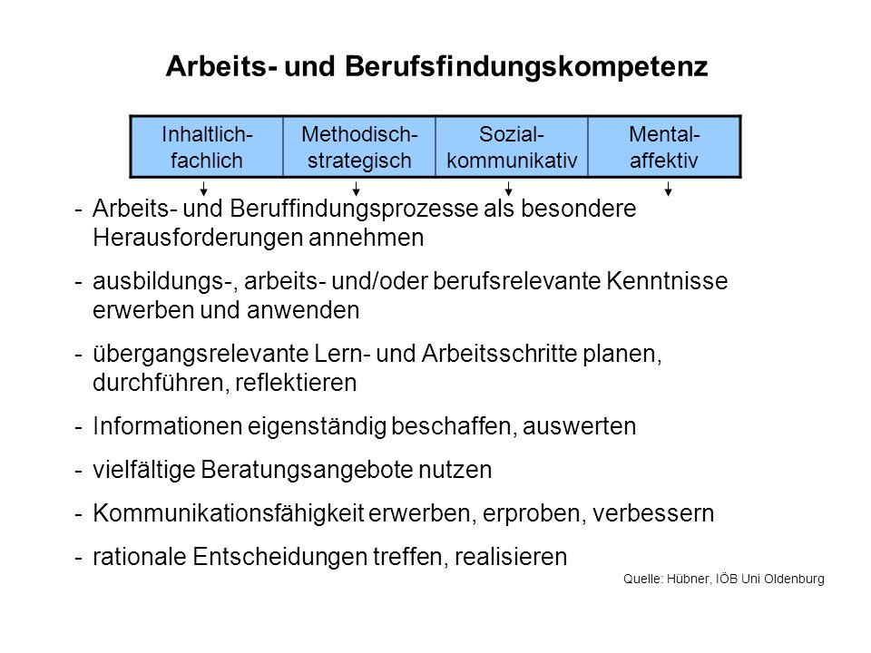 Arbeits- und Berufsfindungskompetenz Inhaltlich- fachlich Methodisch- strategisch Sozial- kommunikativ Mental- affektiv -Arbeits- und Beruffindungspro
