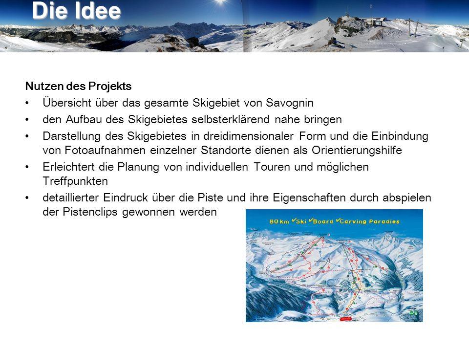 Nutzen des Projekts Übersicht über das gesamte Skigebiet von Savognin den Aufbau des Skigebietes selbsterklärend nahe bringen Darstellung des Skigebie