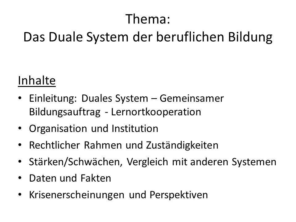 Thema: Das Duale System der beruflichen Bildung Inhalte Einleitung: Duales System – Gemeinsamer Bildungsauftrag - Lernortkooperation Organisation und