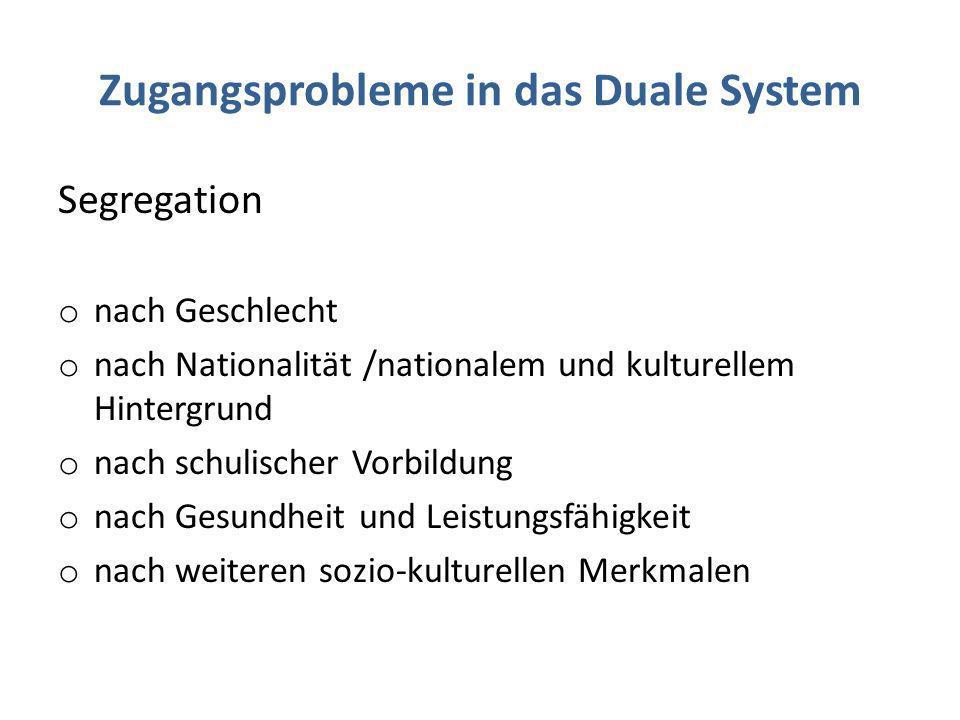 Zugangsprobleme in das Duale System Segregation o nach Geschlecht o nach Nationalität /nationalem und kulturellem Hintergrund o nach schulischer Vorbi
