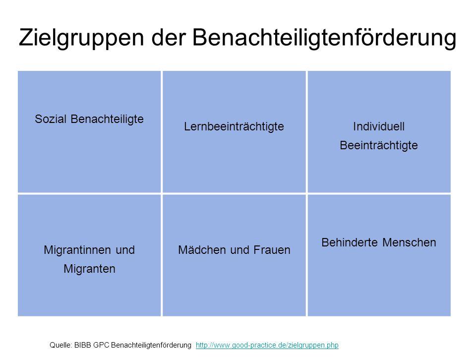 Zielgruppen der Benachteiligtenförderung Sozial Benachteiligte LernbeeinträchtigteIndividuell Beeinträchtigte Migrantinnen und Migranten Mädchen und F
