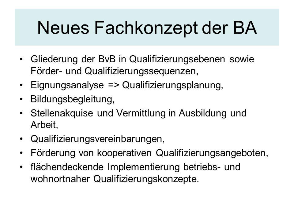 Neues Fachkonzept der BA Gliederung der BvB in Qualifizierungsebenen sowie Förder- und Qualifizierungssequenzen, Eignungsanalyse => Qualifizierungspla