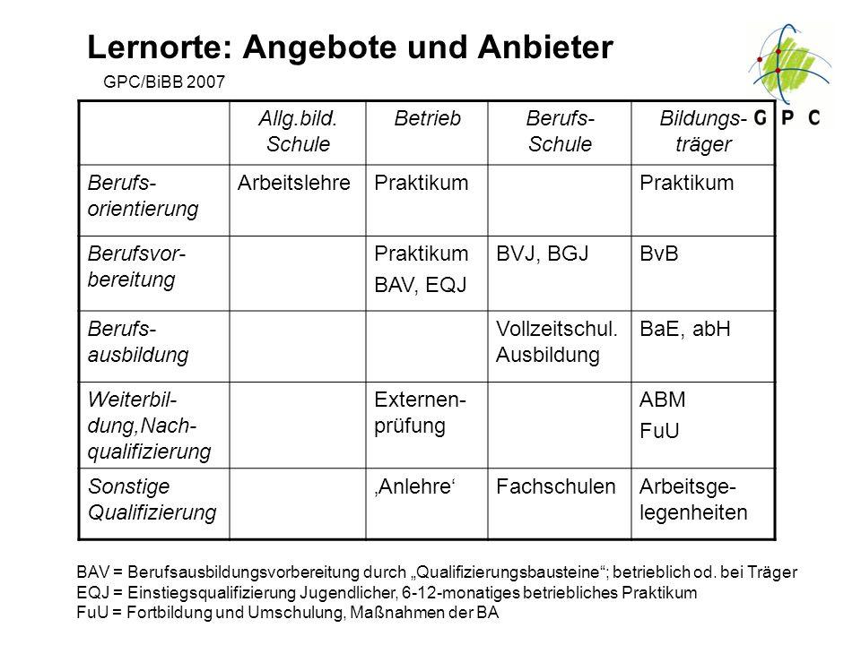 GPC/BiBB 2007 Lernorte: Angebote und Anbieter Allg.bild. Schule BetriebBerufs- Schule Bildungs- träger Berufs- orientierung ArbeitslehrePraktikum Beru