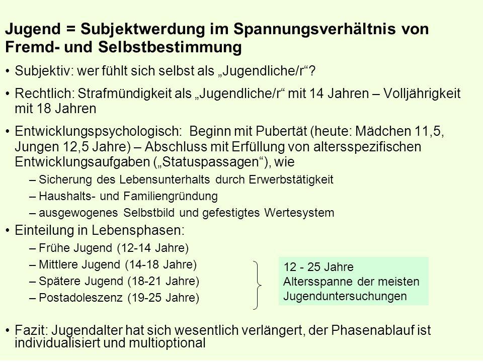 © Prof. Dr. I. Kettschau, SS 2007 Jugend = Subjektwerdung im Spannungsverhältnis von Fremd- und Selbstbestimmung Subjektiv: wer fühlt sich selbst als