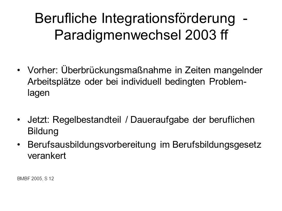 Berufliche Integrationsförderung - Paradigmenwechsel 2003 ff Vorher: Überbrückungsmaßnahme in Zeiten mangelnder Arbeitsplätze oder bei individuell bed