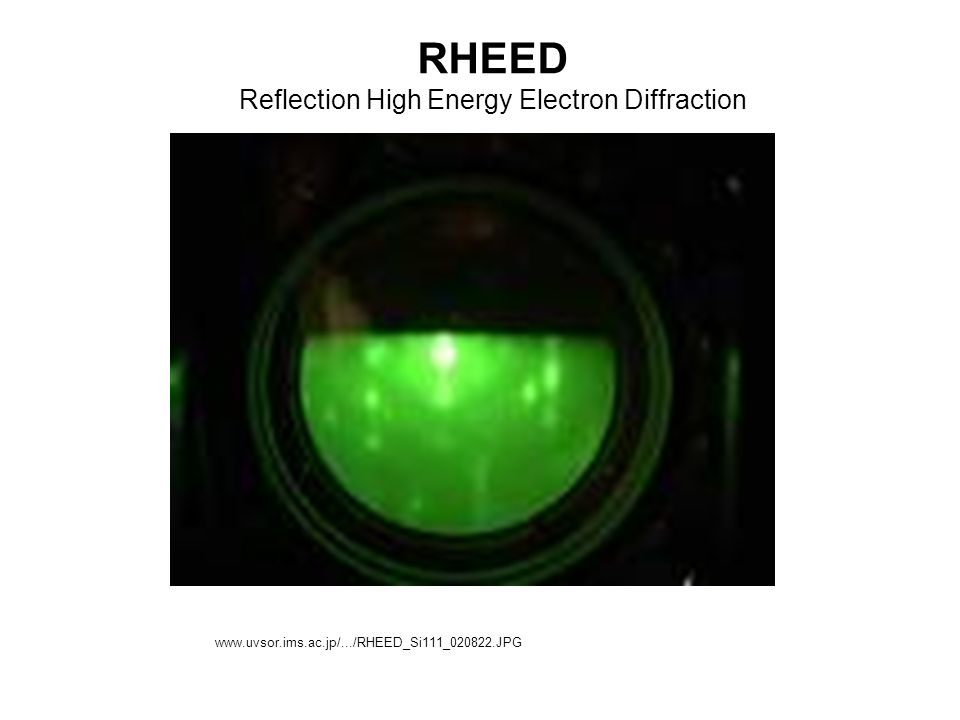 RHEED Reflection High Energy Electron Diffraction www.uvsor.ims.ac.jp/.../RHEED_Si111_020822.JPG