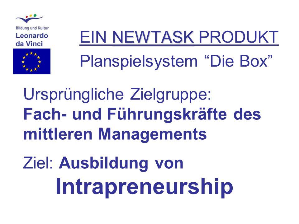 NEWTASK EIN NEWTASK PRODUKT Planspielsystem Die Box Ursprüngliche Zielgruppe: Fach- und Führungskräfte des mittleren Managements Ziel: Ausbildung von