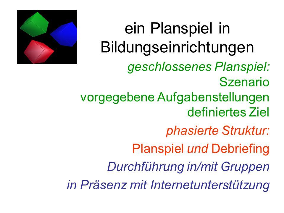ein Planspiel in Bildungseinrichtungen geschlossenes Planspiel: Szenario vorgegebene Aufgabenstellungen definiertes Ziel phasierte Struktur: Planspiel