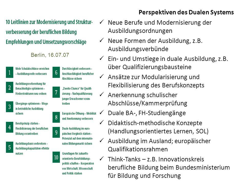 Perspektiven des Dualen Systems Neue Berufe und Modernisierung der Ausbildungsordnungen Neue Formen der Ausbildung, z.B. Ausbildungsverbünde Ein- und