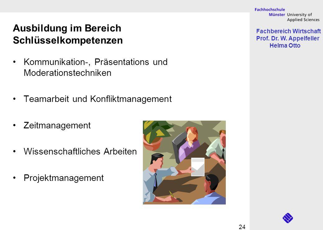 Fachbereich Wirtschaft Prof. Dr. W. Appelfeller Helma Otto 24 Ausbildung im Bereich Schlüsselkompetenzen Kommunikation-, Präsentations und Moderations