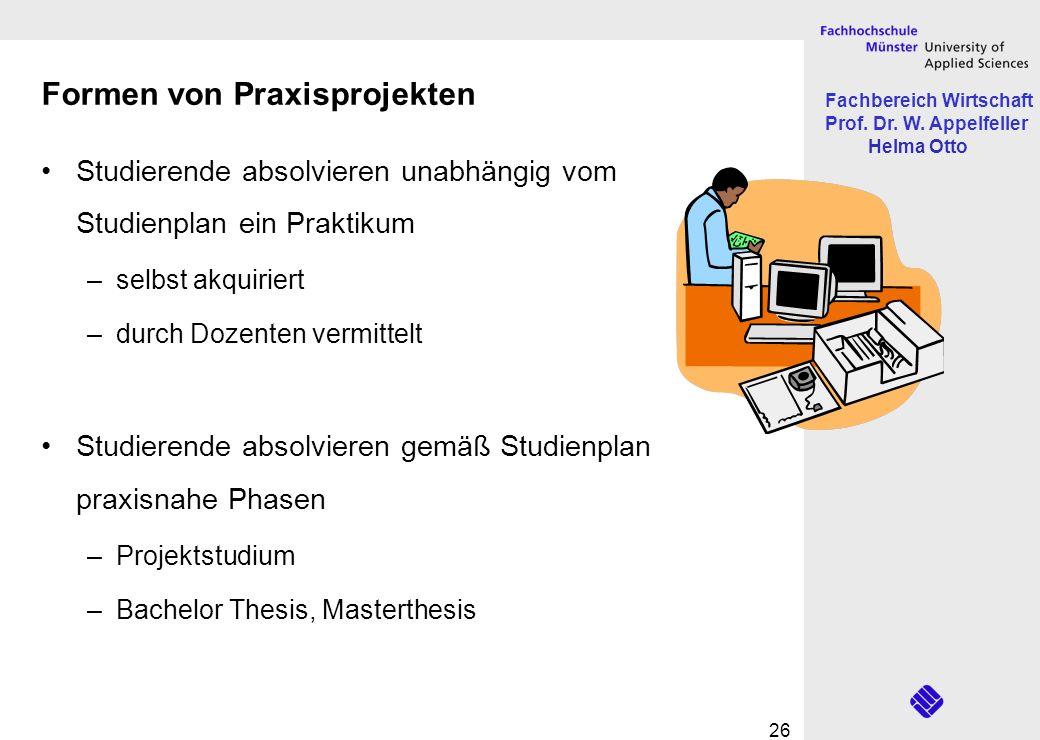 Fachbereich Wirtschaft Prof. Dr. W. Appelfeller Helma Otto 26 Formen von Praxisprojekten Studierende absolvieren unabhängig vom Studienplan ein Prakti