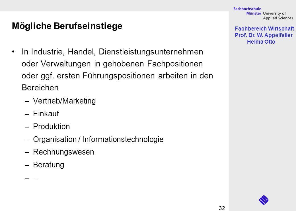 Fachbereich Wirtschaft Prof. Dr. W. Appelfeller Helma Otto 32 Mögliche Berufseinstiege In Industrie, Handel, Dienstleistungsunternehmen oder Verwaltun